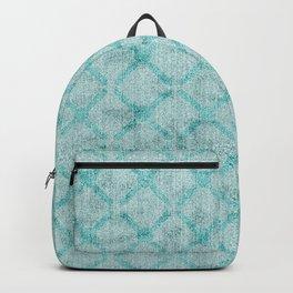Green Aqua Criss Cross Faux Velvet Backpack