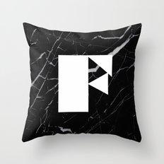 Black Marble - Alphabet F Throw Pillow