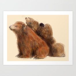Gregory and Greta Grizzly Art Print