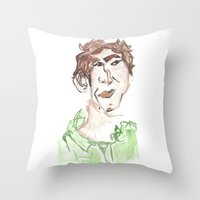 chris evans Throw Pillows featuring Chris by Sadie Padial
