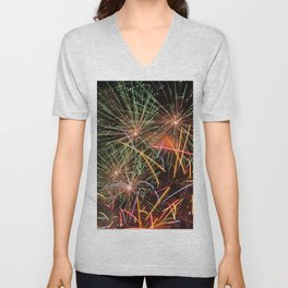 Colorful fireworks Unisex V-Neck