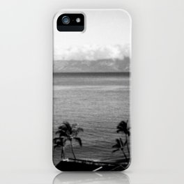 Panorama of Kaanapali Beach in Maui, Hawaii in Black and White - View of Lanai iPhone Case