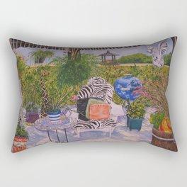 Garden Deck With Blue Barbecue Rectangular Pillow