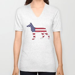 "Doberman Pinscher ""American Flag"" Unisex V-Neck"