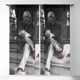 Albert Einstein in Fuzzy Pink Slippers Classic E = mc² Black and White Satirical Photography  Blackout Curtain