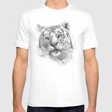 Sentimental Tiger SK118 MEDIUM Mens Fitted Tee White