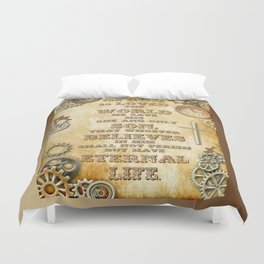 Steampunk Bible Verse For God So Loved the World Duvet Cover