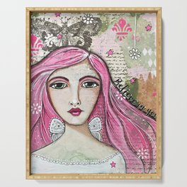 Believe in Your Own Magic Mixed Media Fairy Girl Serving Tray