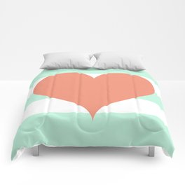 Large Heart on Stripes in Coral and Mint Comforters