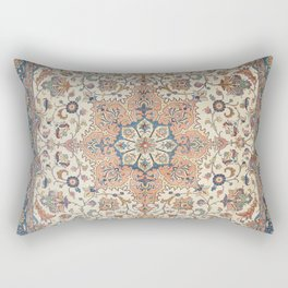 Fine Persia Tabriz Old Century Authentic Colorful Blue Rust Orange Vintage Patterns Rectangular Pillow