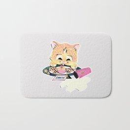 Kitten eating cookies over spilt milk Bath Mat