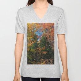 Autumn Forest Photograph Unisex V-Neck