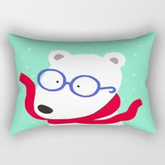 Hipster Polar Bear Rectangular Pillow