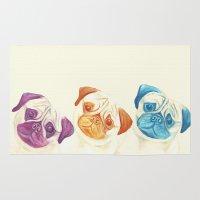 pugs Area & Throw Rugs featuring Three pugs by mirikins