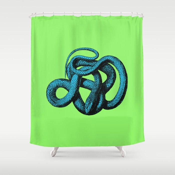 Snek 1 Snake Teal Turquoise Lime Green Shower Curtain