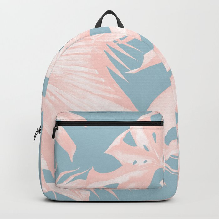 Island Love Millennial Pink on Pale Teal Blue Backpack