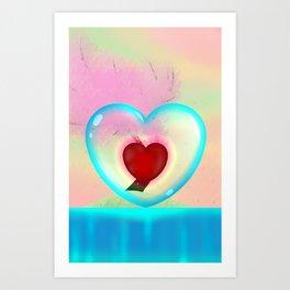 heart in a bubble Art Print