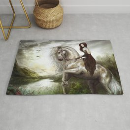 Royal redhead girl riding a white horse Rug