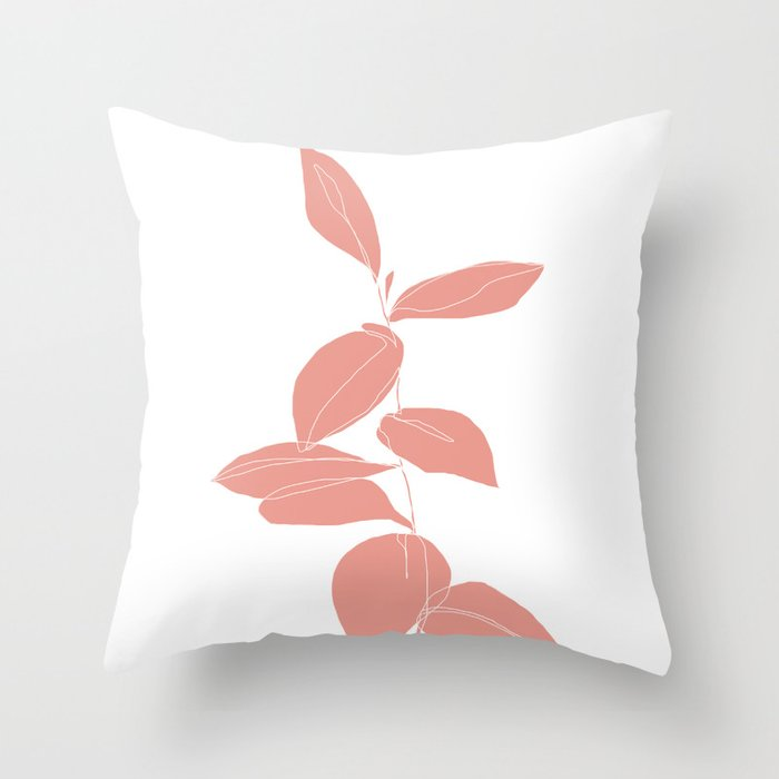 One line plant drawing - Berry Pink Throw Pillow