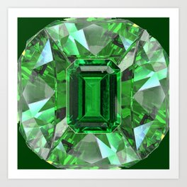 EMERALD GREEN MAY BIRTHSTONES ART Art Print