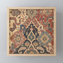 Geometric Leaves I // 18th Century Distressed Red Blue Green Colorful Ornate Accent Rug Pattern Framed Mini Art Print