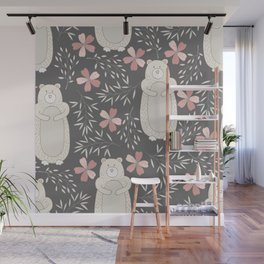 Bear and Flowers Wall Mural