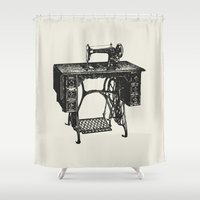 sewing Shower Curtains featuring Singer sewing machine by eARTh