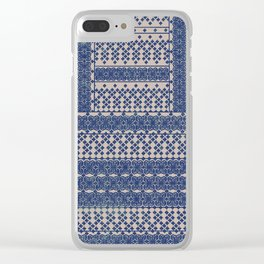 layout with geometric florals in blue Clear iPhone Case