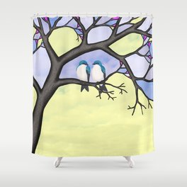 tree swallows in the stained glass tree Shower Curtain