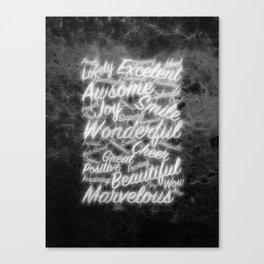 Grey positive word cloud by Brian Vegas Canvas Print