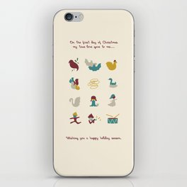 12 Days of Christmas Greeting Card iPhone Skin