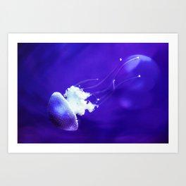 Jellyfish Flowing Through the Moonlight Art Print