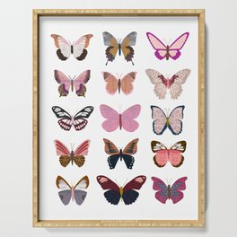 Pink Butterflies Serving Tray