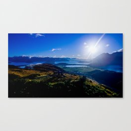 lake wanaka covered in blue colors new zealand beauties and mountains at sunrise Canvas Print