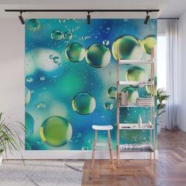 Macro Water Droplets  Aquamarine Soft Green Citron Lemon Yellow and Blue jewel tones Wall Mural