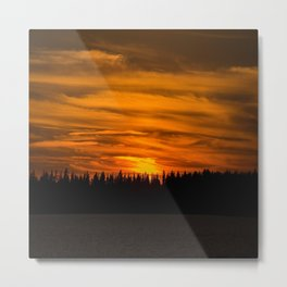 Cloudy Sunset With Forest Line - Scenic Landscape - #society6 #decor #buyart Metal Print