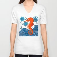 seahorse V-neck T-shirts featuring Seahorse by tamaradeborah