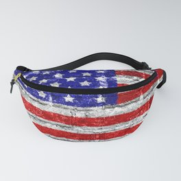 USA Flag Brick Wall Fanny Pack