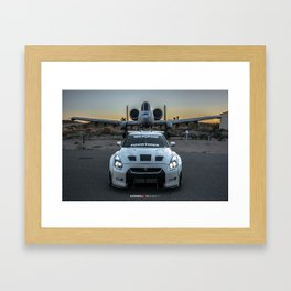 Nissan GT-R R35 LibertyWalk Widebody with retired plane Framed Art Print