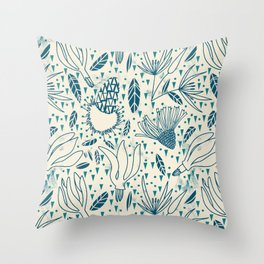 Flying flowers and triangles Throw Pillow