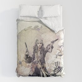 Jack Sparrow with double pistols Comforters