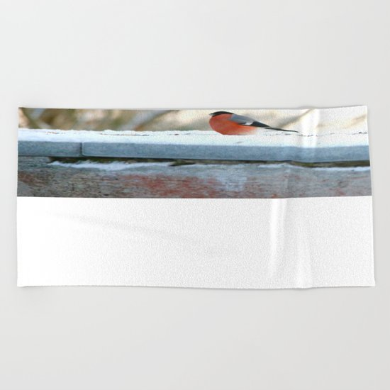 Red Plumage   Beach Towel