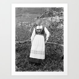 Miss Onion by the bushes. 1915. Art Print