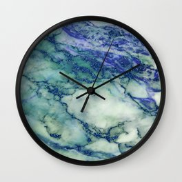 Marble Print Gray with blue glitter accents Wall Clock