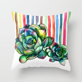 Rainbow Succulents - pencil & watercolor illustration Throw Pillow