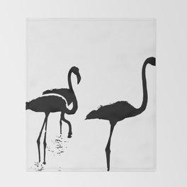 Three Flamingos Black Silhouette Isolated Throw Blanket