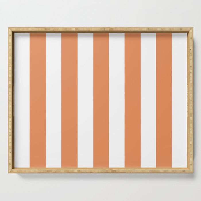 Big Foot Feet orange - solid color - white vertical lines pattern Serving Tray