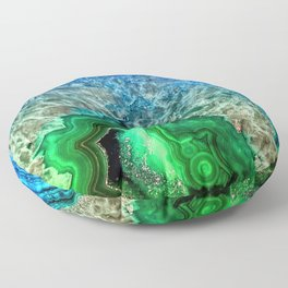 Turquoise Green Agate Mineral Gemstone Floor Pillow