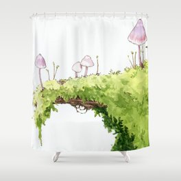 Mushrooms and Moss Shower Curtain