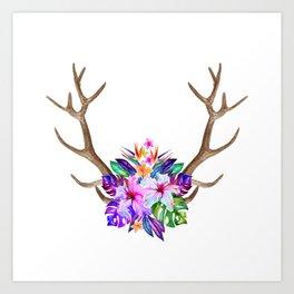 Floral Horn Art Print